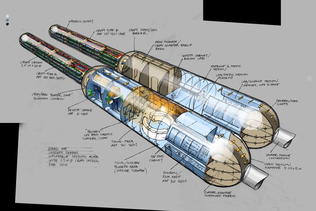 Набросок иллюстрации демонстрирующей модули колонии проекта Mars One. Изображение 4.