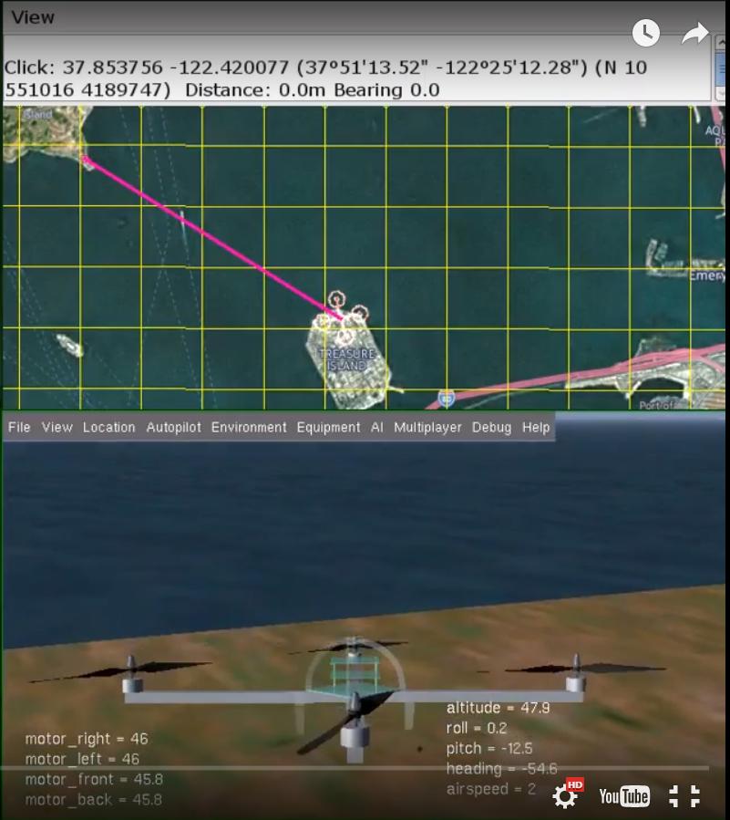 Дрон построил маршрут после взлета.