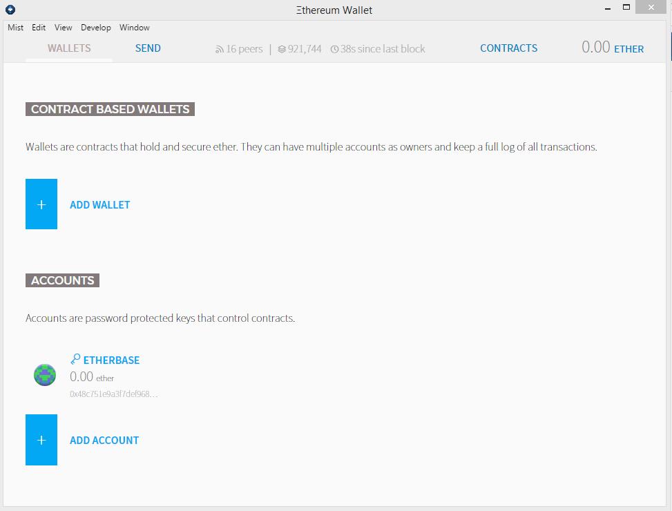 Создание аккаунта сети Ethereum в Mist