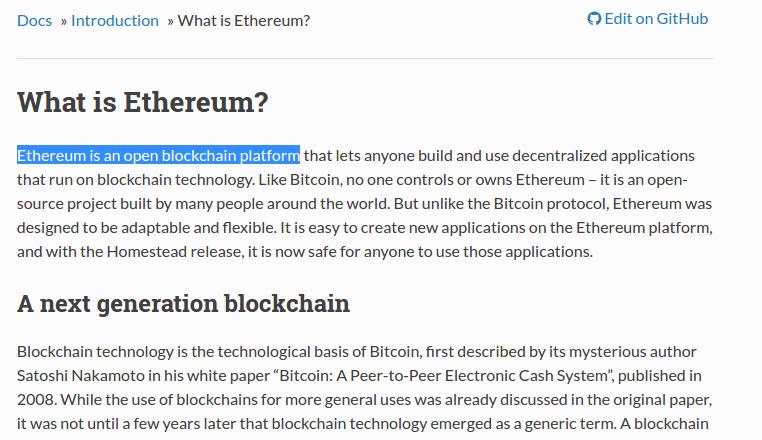 Prt sc первой страницы официальной документации проекта Ethereum.