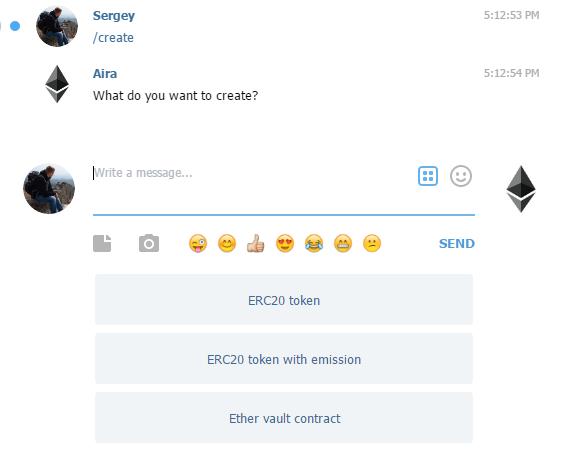 Создавайте собственные токены с помощью Telegram бота AiraEthBot